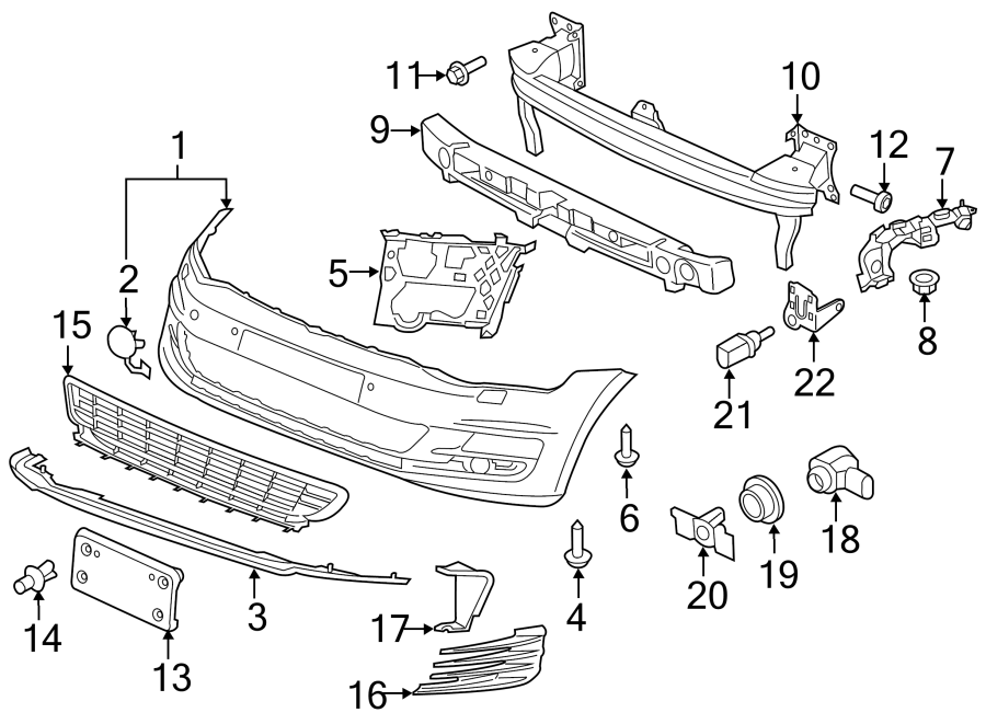 Diagram FRONT BUMPER. BUMPER & COMPONENTS. for your 2016 Volkswagen GTI Autobahn Hatchback 2.0L A/T